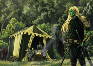 green skinned woman with blonde hair standing next to tent