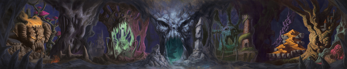 Image showing a long continuous fantasy adventure scene illustrated by Michael Syrigos.